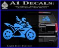 Girl Motorcycle Racing Vinyl Decal Sticker Light Blue Vinyl 120x97