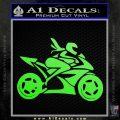 Girl Motorcycle Racing Vinyl Decal Sticker Lime Green Vinyl 120x120