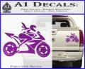 Girl Motorcycle Racing Vinyl Decal Sticker Purple Vinyl 120x97