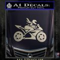Girl Motorcycle Racing Vinyl Decal Sticker Silver Vinyl 120x120