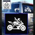 Girl Motorcycle Racing Vinyl Decal Sticker White Emblem 120x120