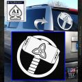 Greek God Hammer Thor Decal Sticker White Emblem 120x120