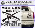 Gun Ban Decal Sticker SQ Carbon Fiber Black 120x97