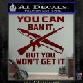 Gun Ban Decal Sticker SQ Dark Red Vinyl 120x120