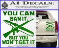Gun Ban Decal Sticker SQ Green Vinyl 120x97
