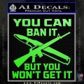 Gun Ban Decal Sticker SQ Lime Green Vinyl 120x120