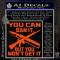Gun Ban Decal Sticker SQ Orange Vinyl Emblem 120x120