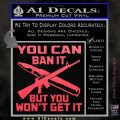 Gun Ban Decal Sticker SQ Pink Vinyl Emblem 120x120