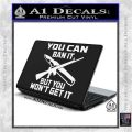Gun Ban Decal Sticker SQ White Vinyl Laptop 120x120