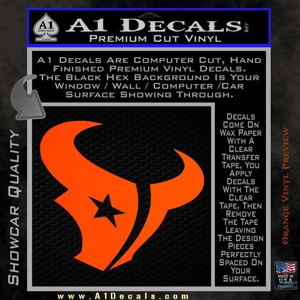 Houston texans decal sticker logo orange vinyl emblem 120x120