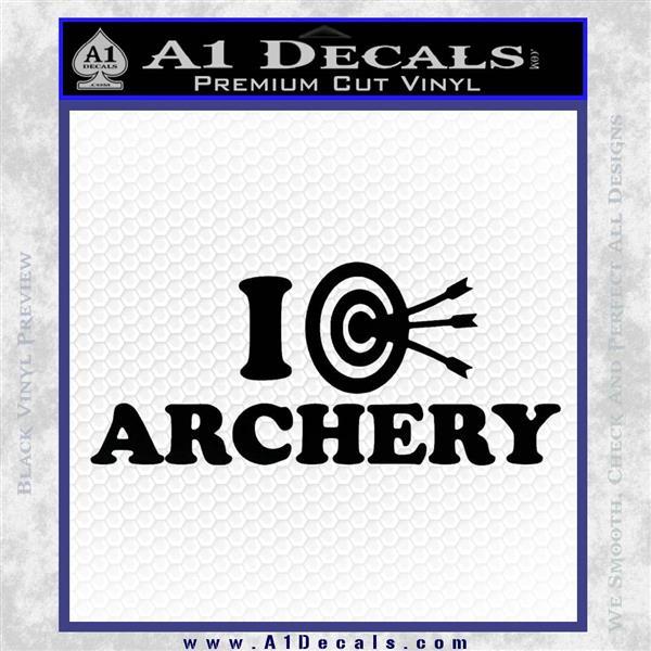 I Love Archery Decal Sticker Target Black Logo Emblem