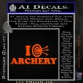 I Love Archery Decal Sticker Target Orange Vinyl Emblem 120x120