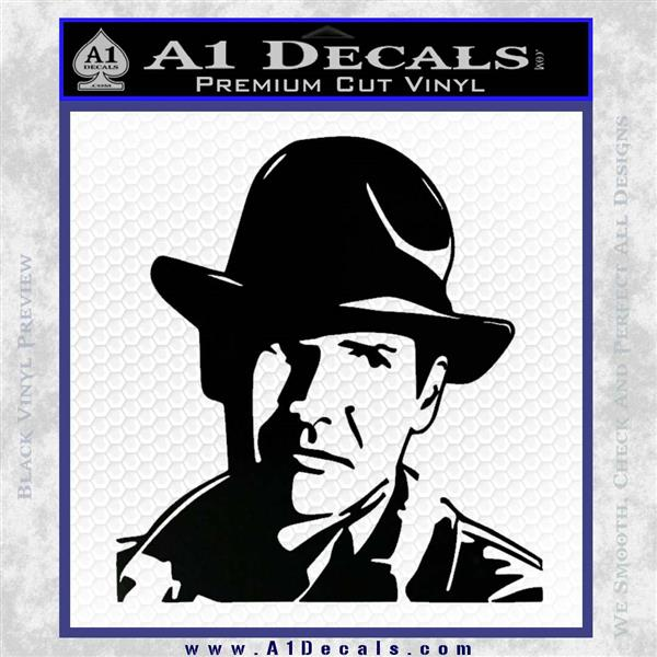 Indiana Jones Profile Decal Sticker Black Logo Emblem