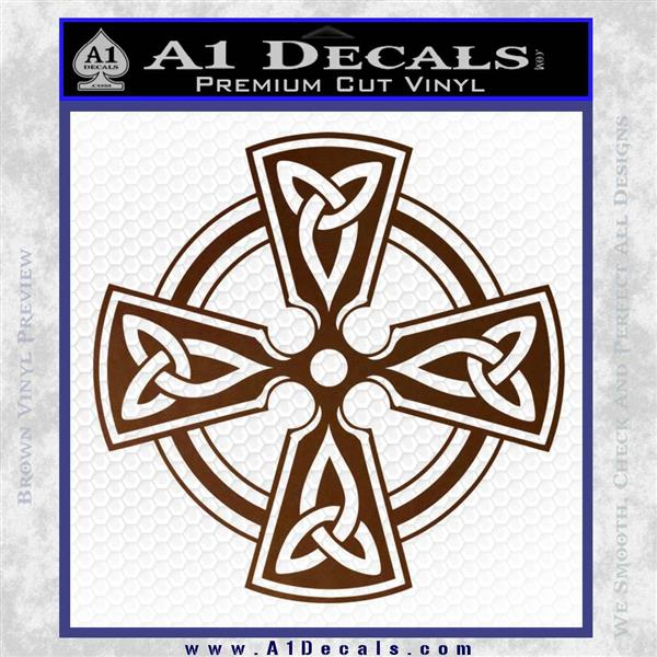 Irish celtic cross d7 decal sticker brown vinyl 120x120