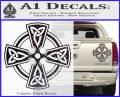 Irish Celtic Cross D7 Decal Sticker Carbon Fiber Black 120x97