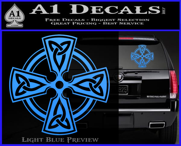 Irish celtic cross d7 decal sticker light blue vinyl 120x97