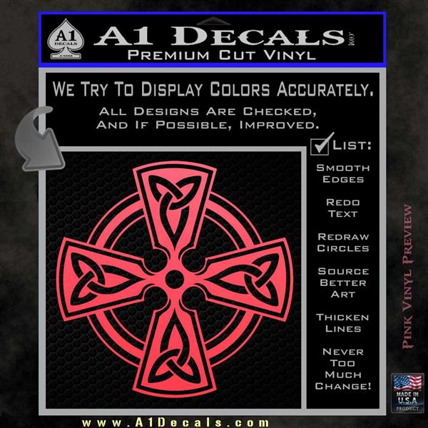 Irish celtic cross d7 decal sticker pink vinyl emblem 120x120