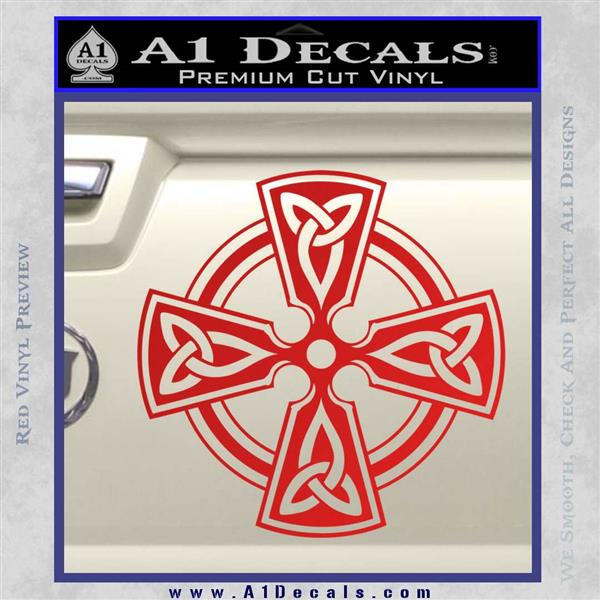 Irish celtic cross d7 decal sticker red vinyl 120x120