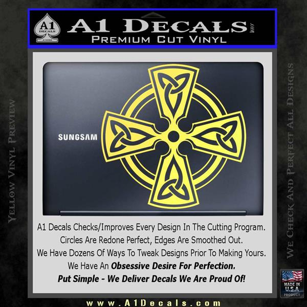 Irish celtic cross d7 decal sticker yelllow vinyl 120x120