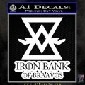 Iron Bank Of Braavos Decal Sticker Game Of Thrones White 120x120