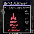 Keep Calm and Klingon Star Trek Decal Sticker Pink Vinyl Emblem 120x120