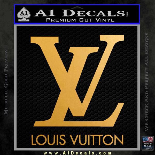 Louis Vuitton Logo D1 Decal Sticker Metallic Gold Vinyl