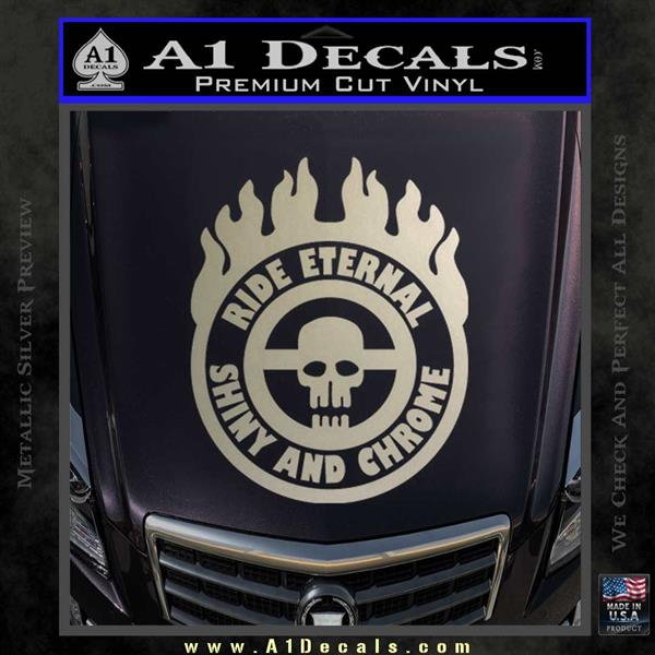 Mad Max Fury Road Ride Eternal Shiny Chrome Decal Sticker Silver Vinyl