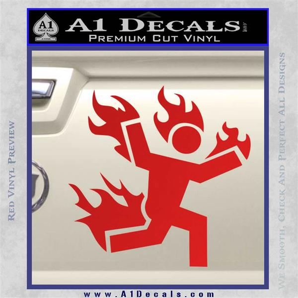 Man on Fire Stuntman Decal Sticker Red Vinyl