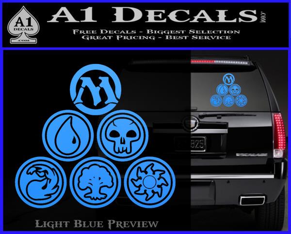 Mana Symbols TRI Decal Sticker Magic The Gathering MTG Light Blue Vinyl 120x97