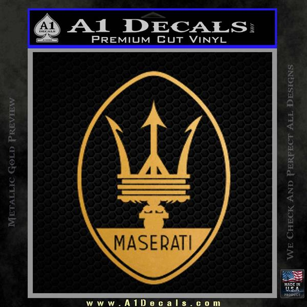 Maserati Full Logo Decal Sticker OV Metallic Gold Vinyl Vinyl