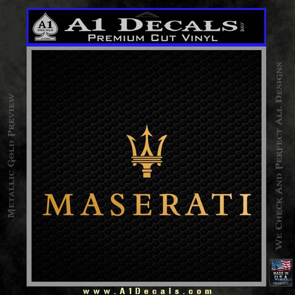 Maserati Wide Decal Sticker Metallic Gold Vinyl Vinyl