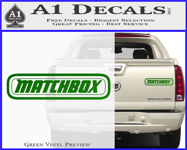 Matchbox toy car decal sticker green vinyl 120x97