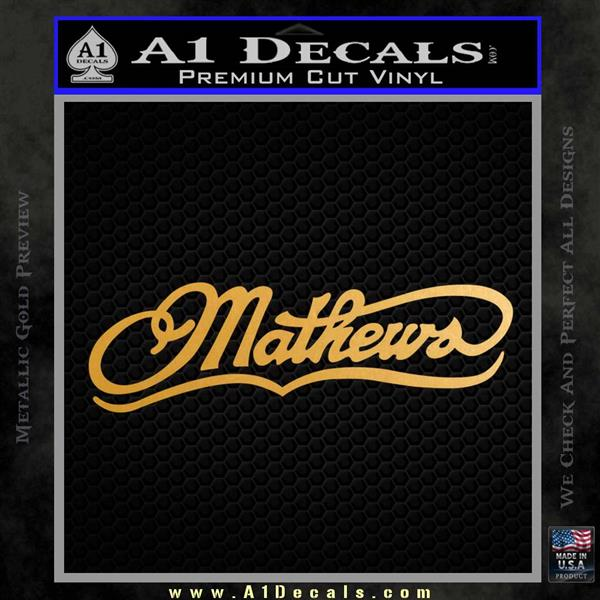 Mathews Archery Decal Sticker DN Metallic Gold Vinyl Vinyl