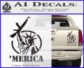 Merica Libery Rifle Decal Sticker Carbon Fiber Black 120x97