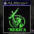 Merica Libery Rifle Decal Sticker Lime Green Vinyl 120x120