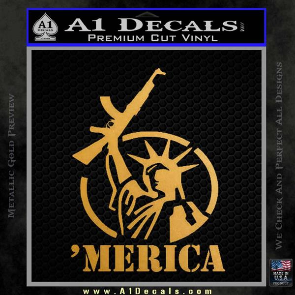 Merica Libery Rifle Decal Sticker Metallic Gold Vinyl Vinyl