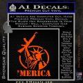 Merica Libery Rifle Decal Sticker Orange Vinyl Emblem 120x120
