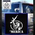 Merica Libery Rifle Decal Sticker White Emblem 120x120