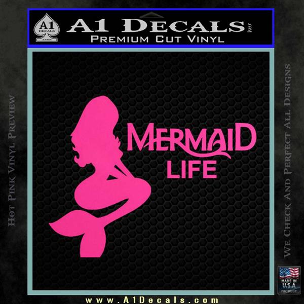Mermaid Love Decal Sticker DZA Hot Pink Vinyl