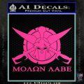 Molon Labe CS Decal Stickers Hot Pink Vinyl 120x120