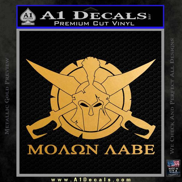 Molon Labe CS Decal Stickers Metallic Gold Vinyl
