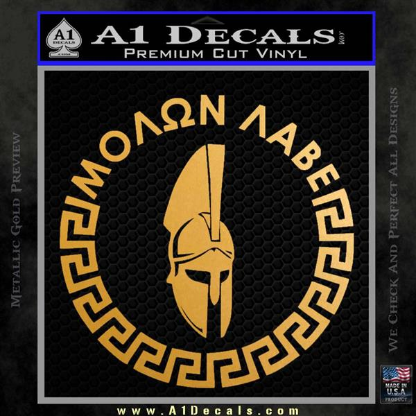 Molon Labe Decal Sticker CR23 Metallic Gold Vinyl
