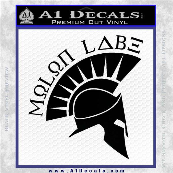 Molon Labe Decal Sticker Spartan D8 Black Logo Emblem