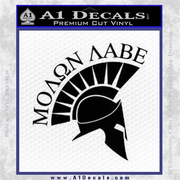 Molon Labe Helmet Decal Sticker D6 Black Logo Emblem