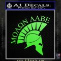Molon Labe Helmet Decal Sticker D6 Lime Green Vinyl 120x120