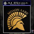 Molon Labe Helmet New s Decal Sticker Metallic Gold Vinyl 120x120