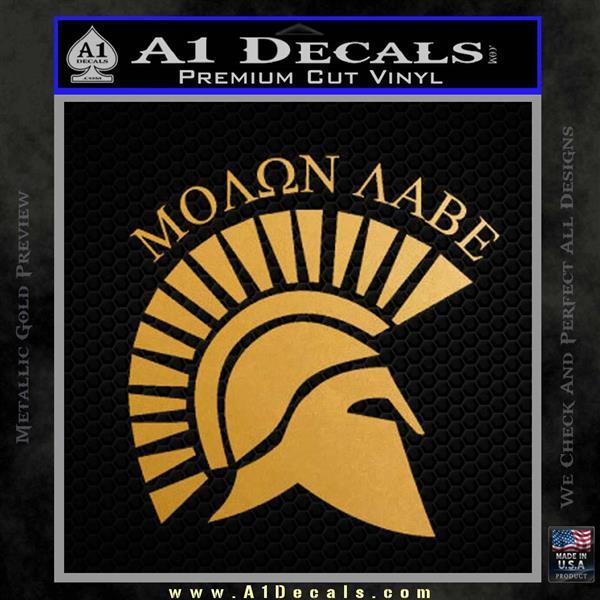 Molon Labe Helmet New s Decal Sticker Metallic Gold Vinyl