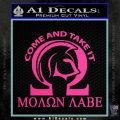 Molon Labe Omega Decal Sticker R2 Hot Pink Vinyl 120x120