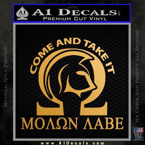 Molon Labe Omega Decal Sticker R2 Metallic Gold Vinyl