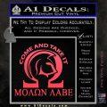 Molon Labe Omega Decal Sticker R2 Pink Vinyl Emblem 120x120